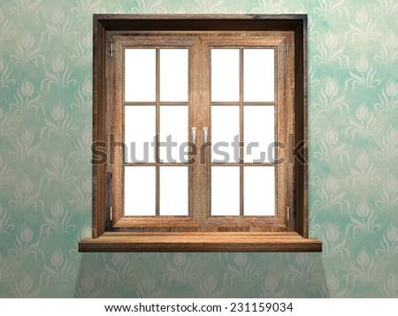 Closed wooden window. 3d render - stock photo