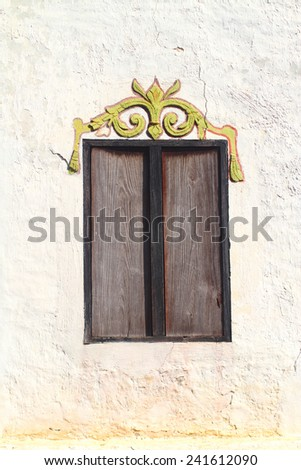Closed Wooden Window on The Wall, Thailand Temple - stock photo