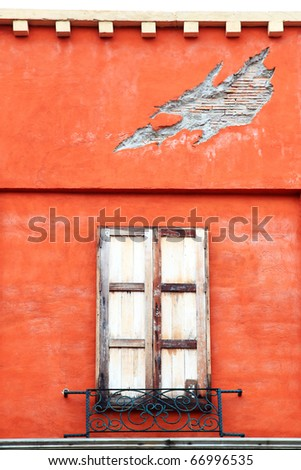 closed wooden windows on italian building