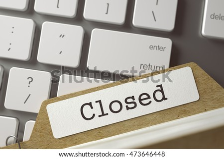 Closed written on  Card Index Concept on Background of Computer Keyboard. Archive Concept. Closeup View. Blurred Toned Image. 3D Rendering.