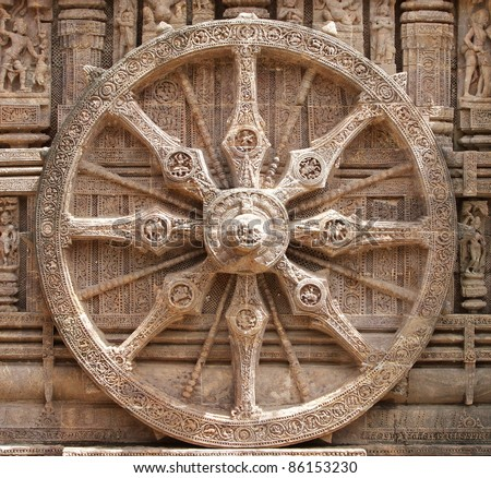 Closer look of the splendid chariot wheel, Sun temple Konark - stock photo