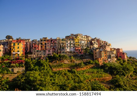 Closer picture of Corniglia in cinque terre, italy