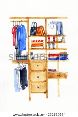 closet. fashion watercolor illustration  - stock photo