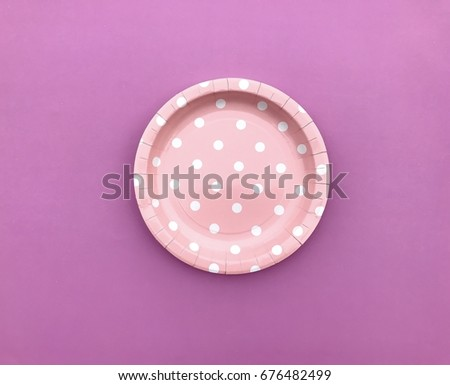 Closeup A pale pink polka dot paper plate set on pink background. Colorful paper plate & Closeup Pale Pink Polka Dot Paper Stock Photo 676482499 - Shutterstock