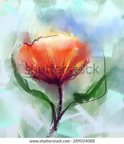 Closeup Abstract floral  paintings. Watercolor painting red poppy flower mix oil painting in background.Spring floral nature in soft green color  background - stock photo