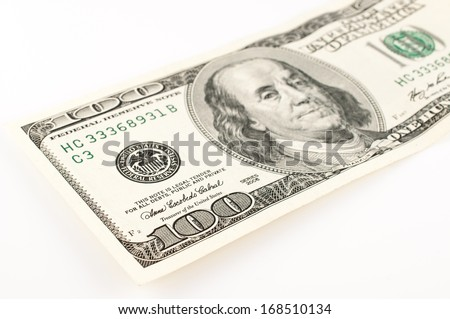 Closeup abstract of $100 bill in US currency. - stock photo