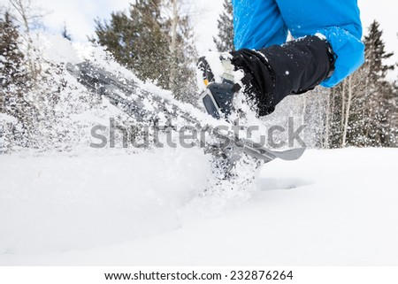 Closeup Action Shot of Snowshoes - stock photo