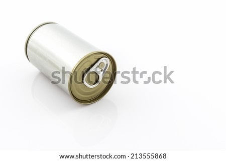 Closeup aluminum tin can on white background.  - stock photo