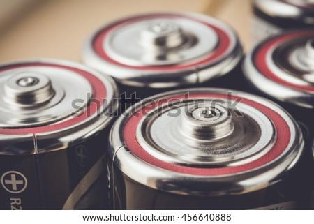 Closeup an alkaline batteries in vintage tone - stock photo