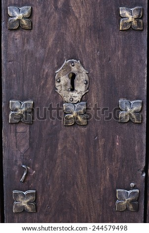 Closeup antique wooden door - stock photo