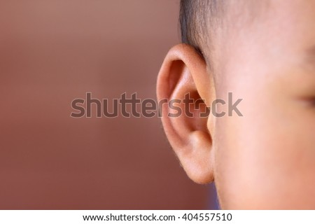 closeup Asian baby ear - stock photo