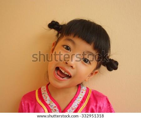 Closeup asian cute little girl, selective focus - stock photo