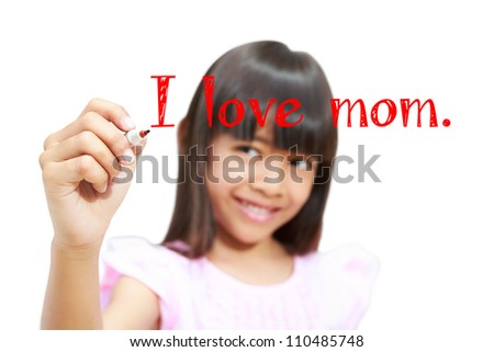 Closeup asian little girl writing I love mom on screen, Isolated on white - stock photo