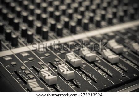 closeup audio mixer - stock photo