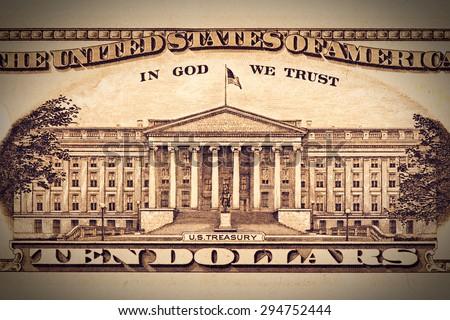 closeup back side of US $100 with U.S.Treasury. - stock photo