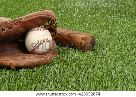 closeup baseball in glove - stock photo