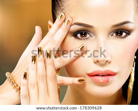 Closeup beautiful face of glamor woman with black eye makeup - stock photo