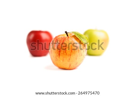 closeup beautiful fresh apples isolated on white - stock photo