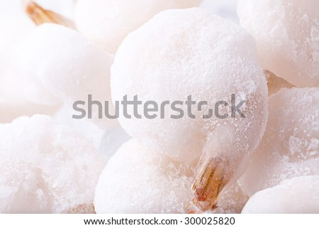 Closeup Beautiful Frozen Raw Shrimp for Background Uses. - stock photo
