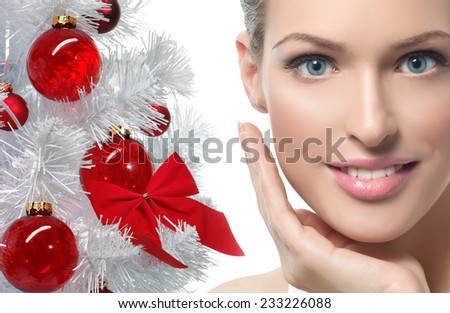 closeup beauty portrait of attractive  caucasian young smiling woman  - stock photo