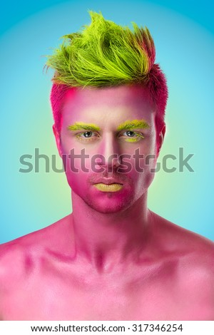Closeup beauty portrait of attractive model face with bright pink visage