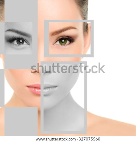 Closeup beauty portrait of young woman with geometric shapes on face. Beautiful mixed race Asian / Caucasian female is representing beauty concept. She is isolated over white background. - stock photo