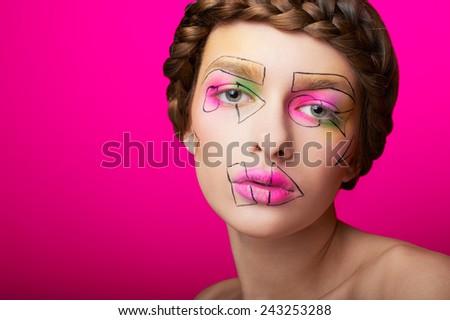 closeup beauty shot with cubism abstract makeup - stock photo