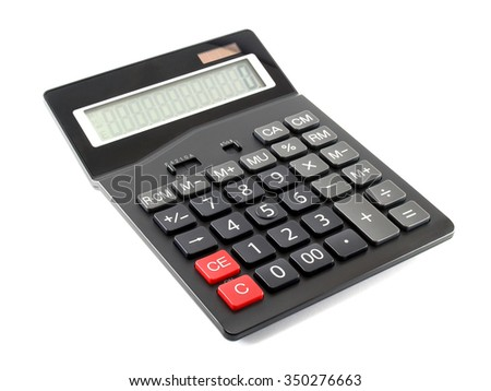 closeup black calculator isolated on white background, electronic equipment for calculating the numbers in business & finance or education