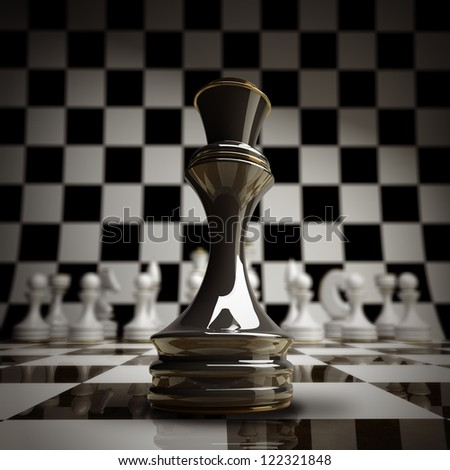 closeup Black chess Queen background 3d illustration. high resolution - stock photo