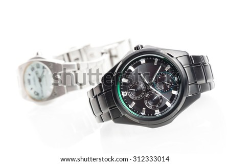closeup black men watch on white background - stock photo