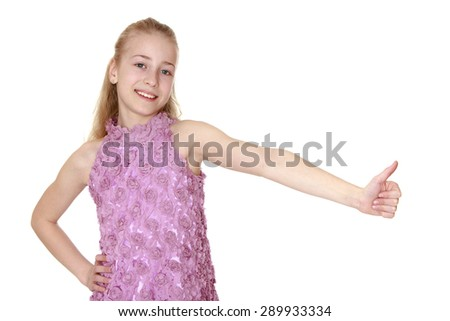 closeup blonde girl put her hand in the side - isolated on white background - stock photo