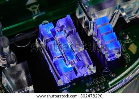 closeup Blue LED (Light Emitting Diode) indicator - stock photo