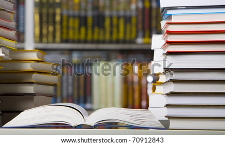 Closeup books in the library - stock photo