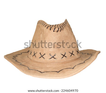 Closeup brown cowboy hat isolated on a white background - stock photo