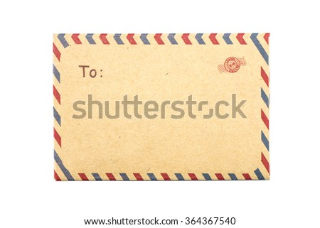 Closeup brown envelope isolated on white background - stock photo