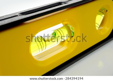 closeup bubble in the spirit level - stock photo