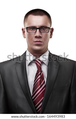 closeup businessman isolated on white background