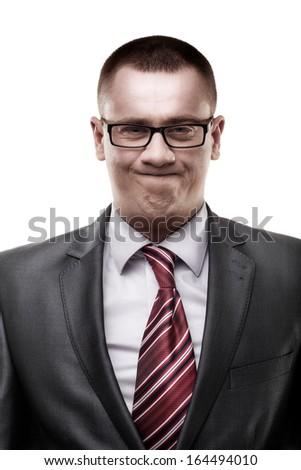 closeup businessman isolated on white background - stock photo