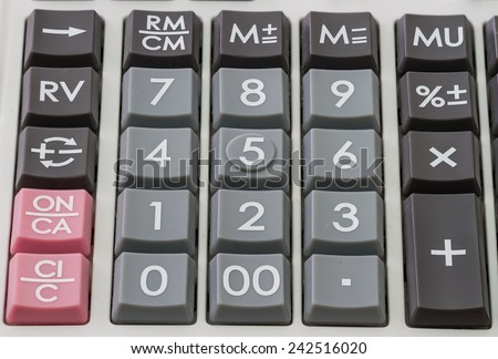 closeup calculator pad for accounting