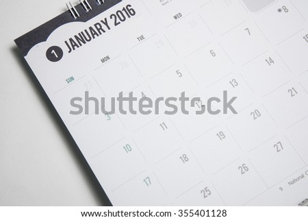 Closeup  calendar 2016 JANUARY in dark tone. - stock photo