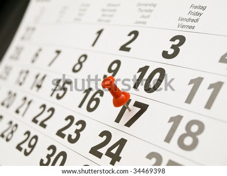Closeup calendar with  drawing-pin - stock photo