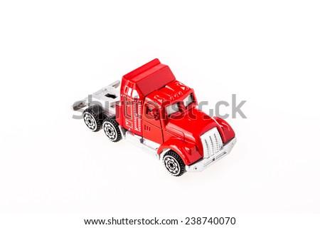 closeup car toy on white background. - stock photo