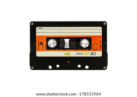 Closeup cassette tape isolate on white background - stock photo