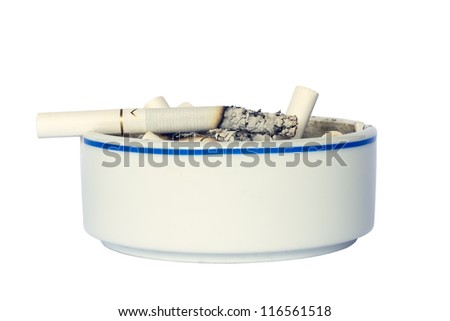 Closeup ceramic Ashtray with Cigarette, isolated on white background. - stock photo