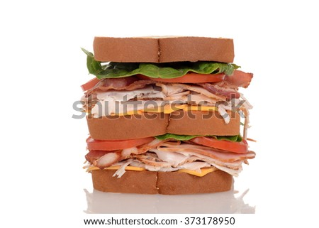 closeup chicken club sandwich - stock photo