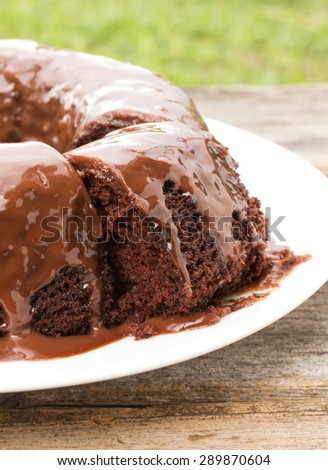 Closeup chocolate cake with chocolate sauce on white plate. On wood table and garden view. Home made. - stock photo