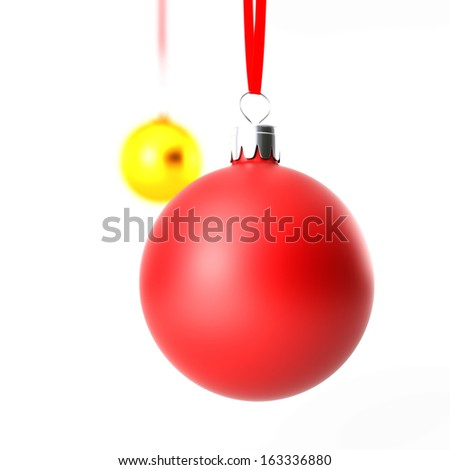 Closeup Christmas balls on white background isolated