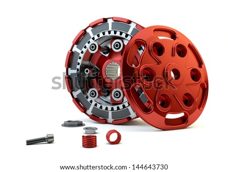 Closeup Clutch parts disassembled isolated on white background - stock photo