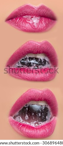 Closeup collage of three sexual open female mouth of beautiful young woman with foam beverage bubbles on bright pink lips on tan beige face, vertical picture - stock photo