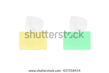 Closeup color box of toilet paper with white toilet paper isolated on white background with clipping path - stock photo